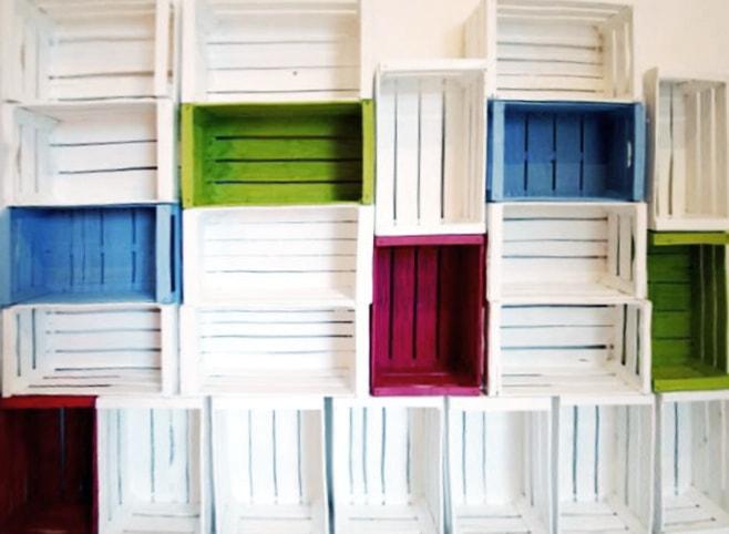 Libreria fai da te con cassette da frutta passion diy for Libreria fai da te