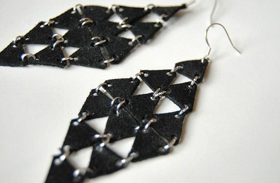Earrings diy leather