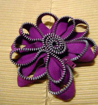 Zip Flower Brooch