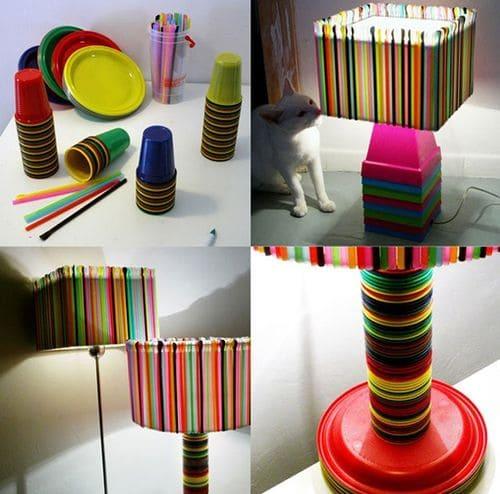 Plastic Straw Lampshade