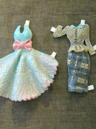 Ceramic Paper Doll Dresses