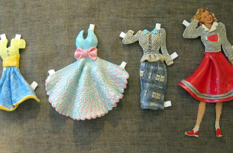 Ceramic Paper Doll Dresses