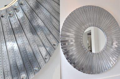 Specchio con righelli in acciaio