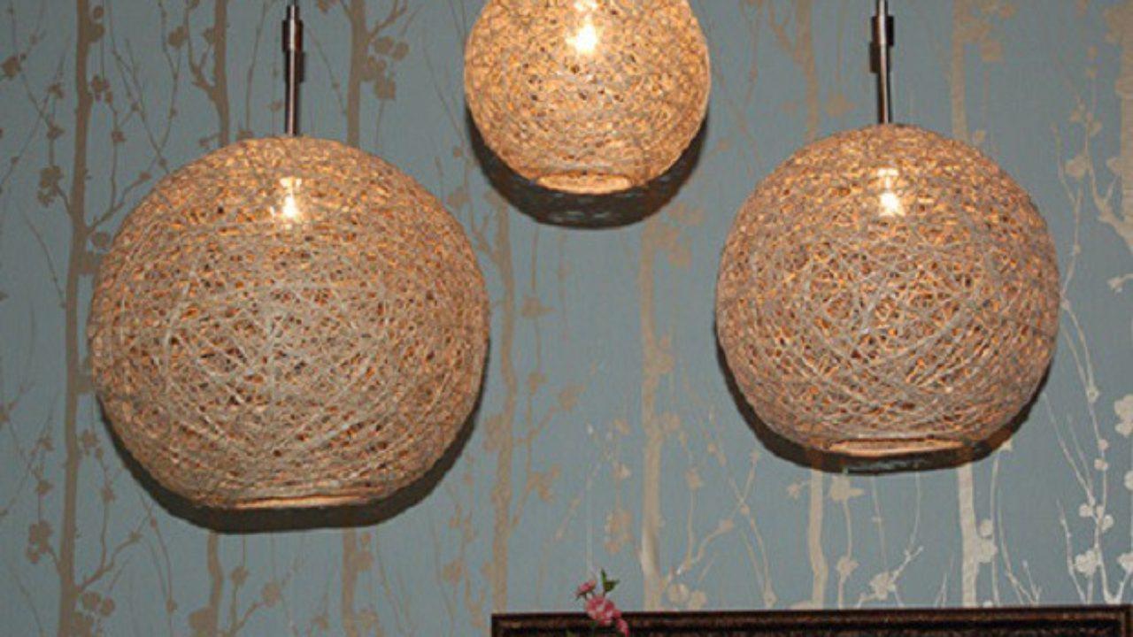 Lampadari Con Bottiglie Di Vetro lampadario con lo spago - passion diy