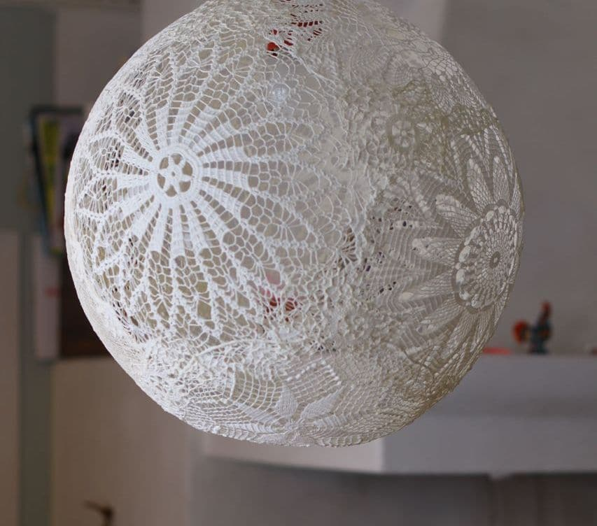 Lampadario di pizzo leggero ed elegante   Passion DIY -> Paralume Lampadario Fai Da Te