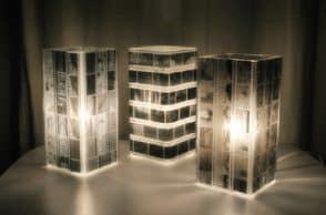 Lampada decorata con pellicola fotografica