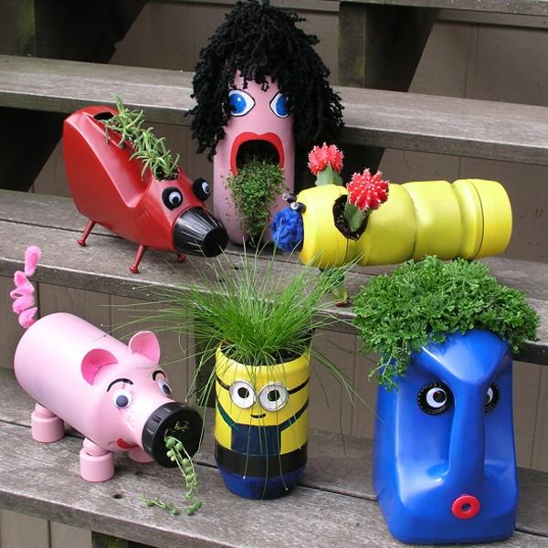 Vasi creativi con flaconi riciclati passion diy for Vasi con bottiglie di plastica